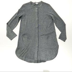 J Jill wool blend long sleeve tunic sweater gray